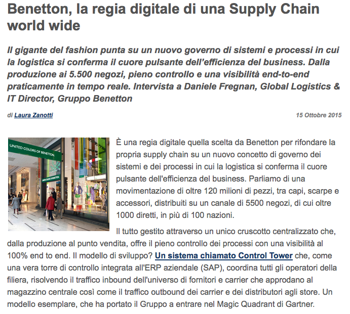 the benetton supply chain This integration means that there is a very tight supply chain from initial design through to final production, saunders added, citing two major benefits it.